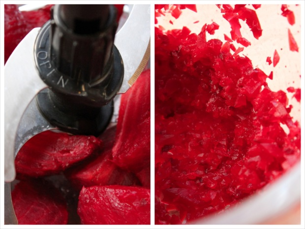 Cut the roast beetroots into quarters and chop them finely in a food processor.
