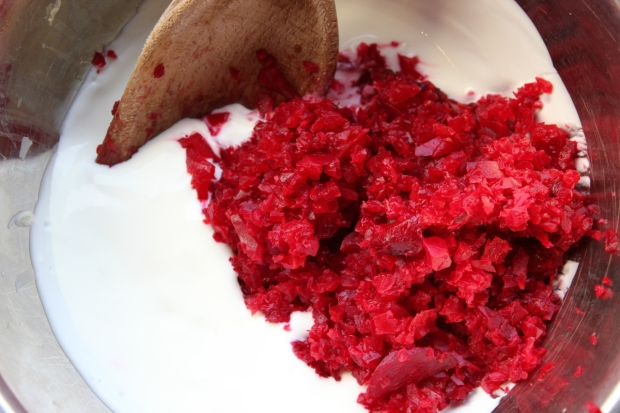 Combine the beetroot and yogurt mixture