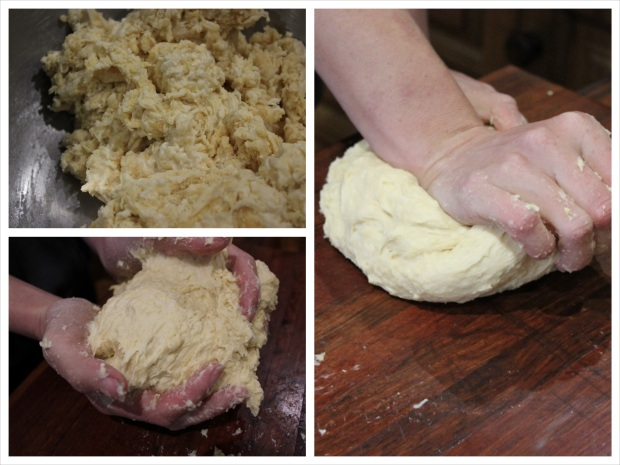 Once the dough is moist enough to start forming a ball, get to work kneading it (and knead until your forearms burn!)